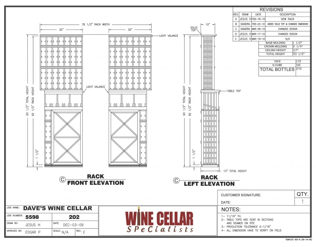Custom Wine Racks Chicago Illinois - Dave's Wine Cellar