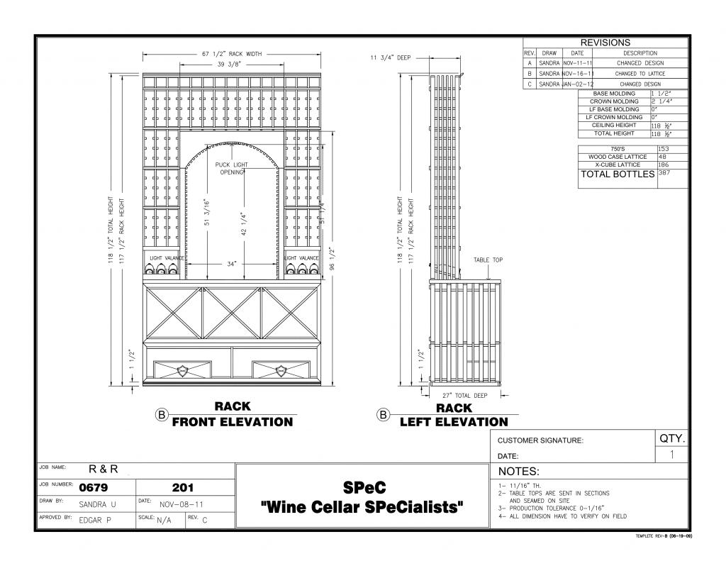 Custom Wine Racks - The Drawing