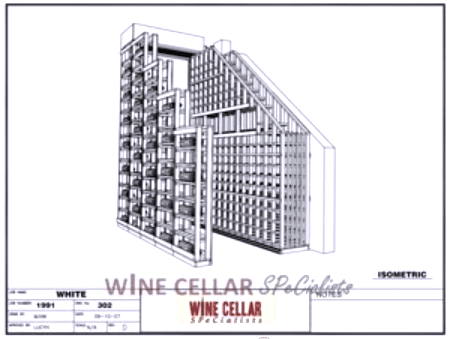 3D Drawings - Waterfall Design Wooden Wine Racks