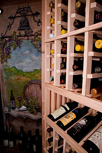 Single Bottle Storage Wine Cellar Racks with a Display Row