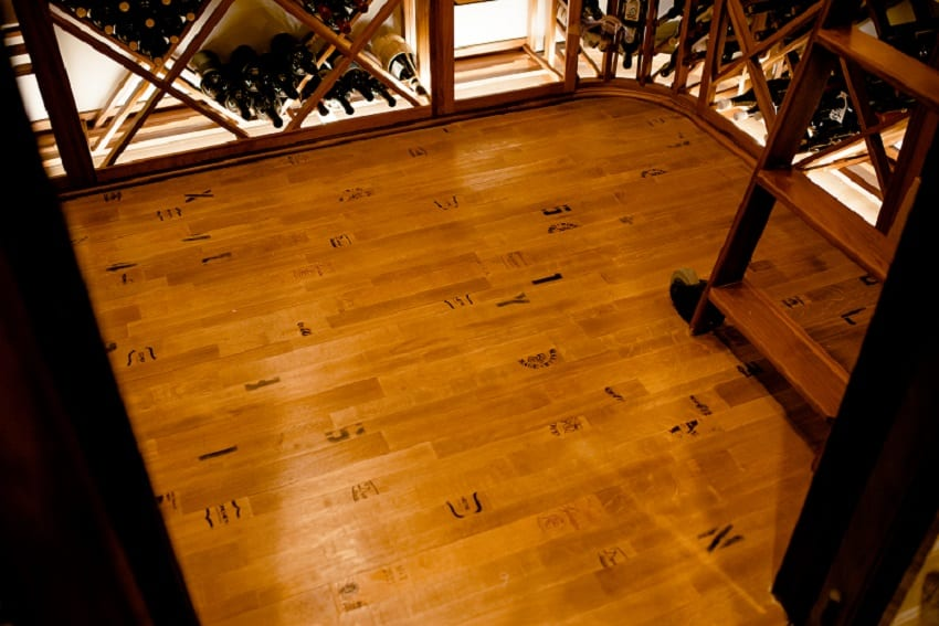 wooden floor for the North Dallas wine cellar